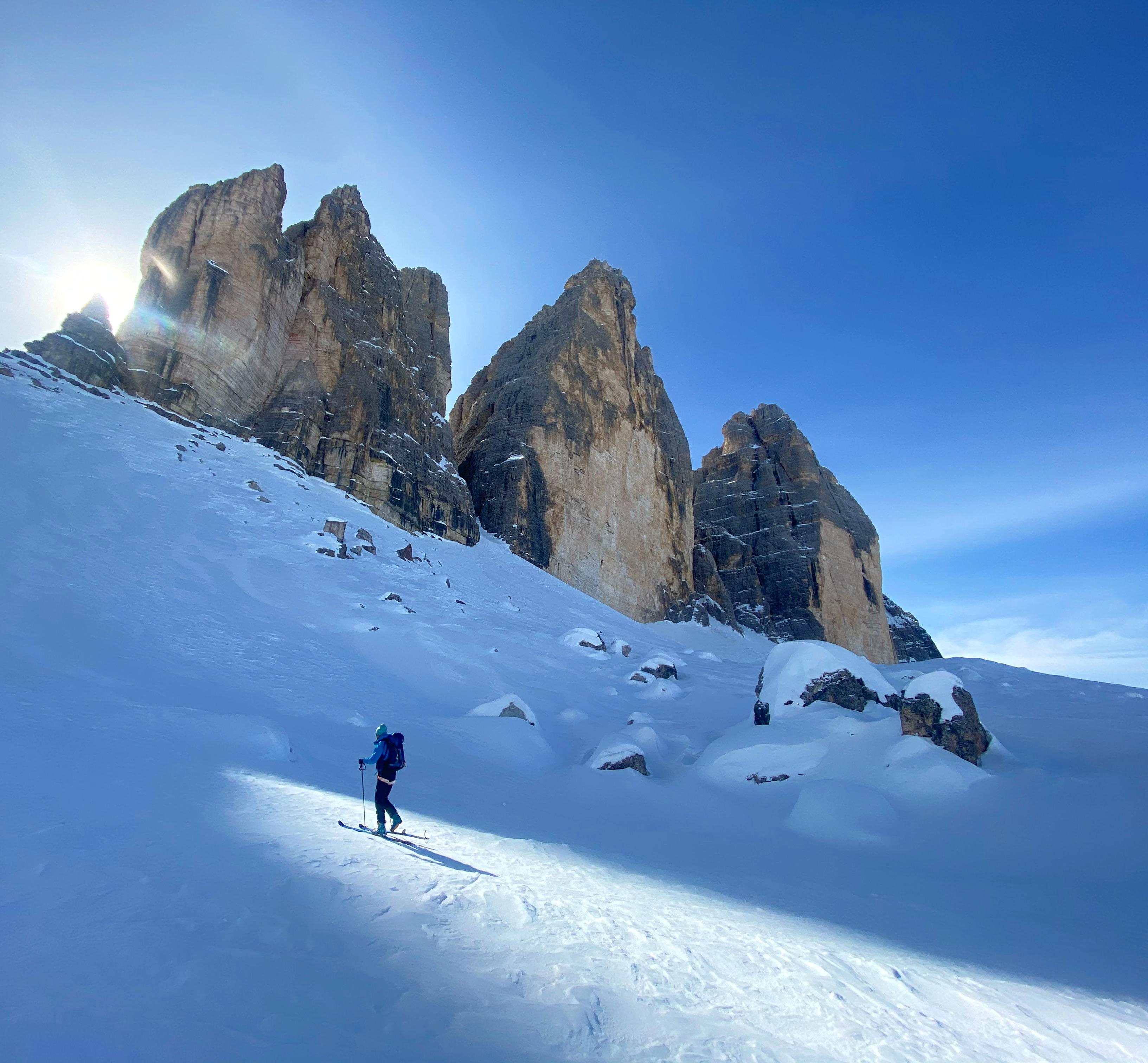 Les Tre Cime di Lavaredo en ski